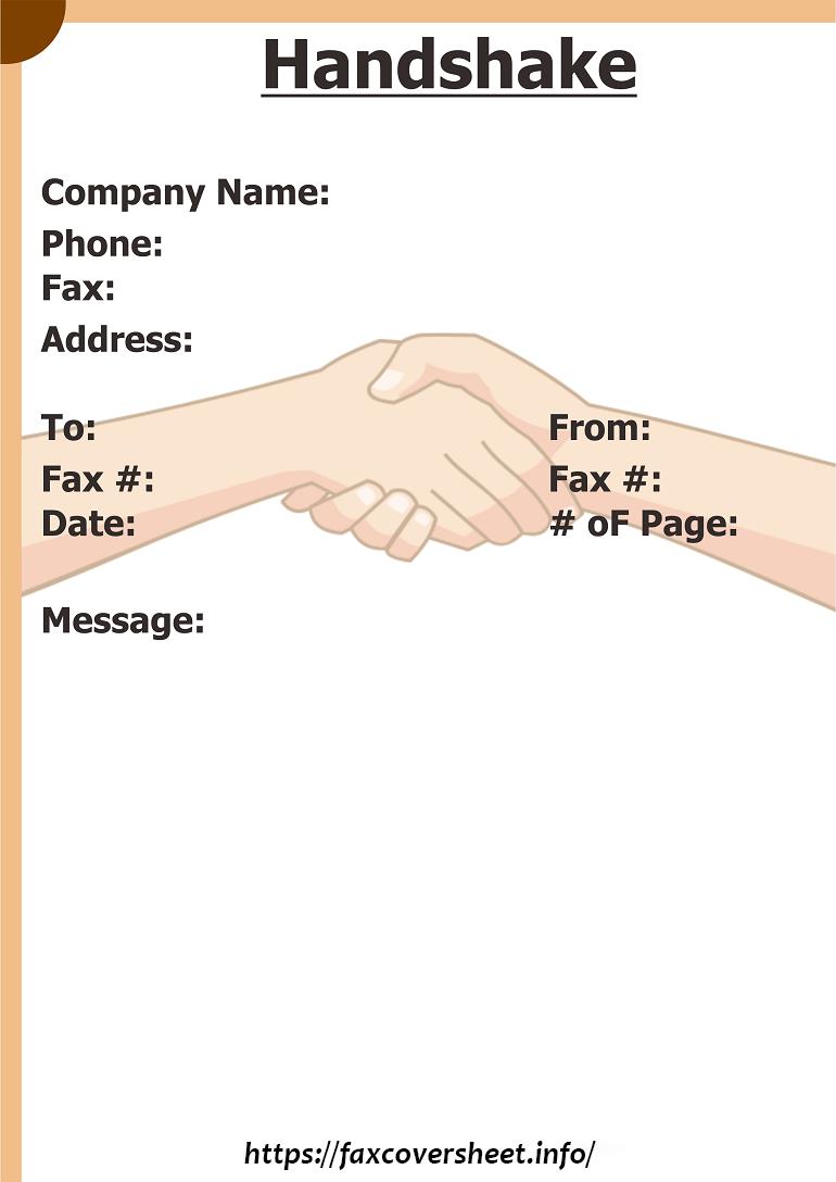 Free Handshake Fax Cover Sheet