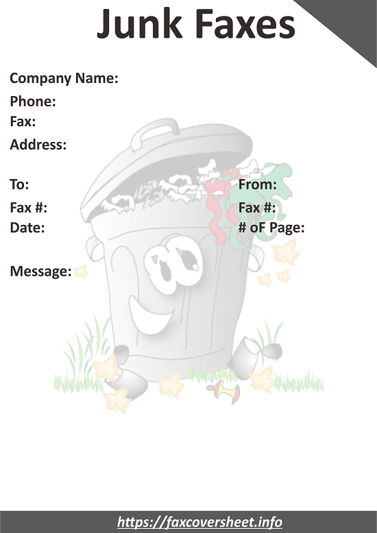 Free Stop Junk Faxes Fax Cover Sheet