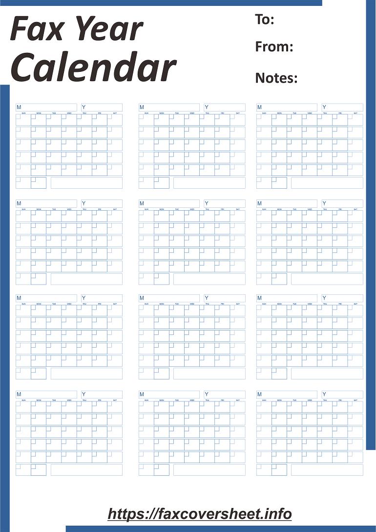 Fax Year Calendar Fax Cover Sheet