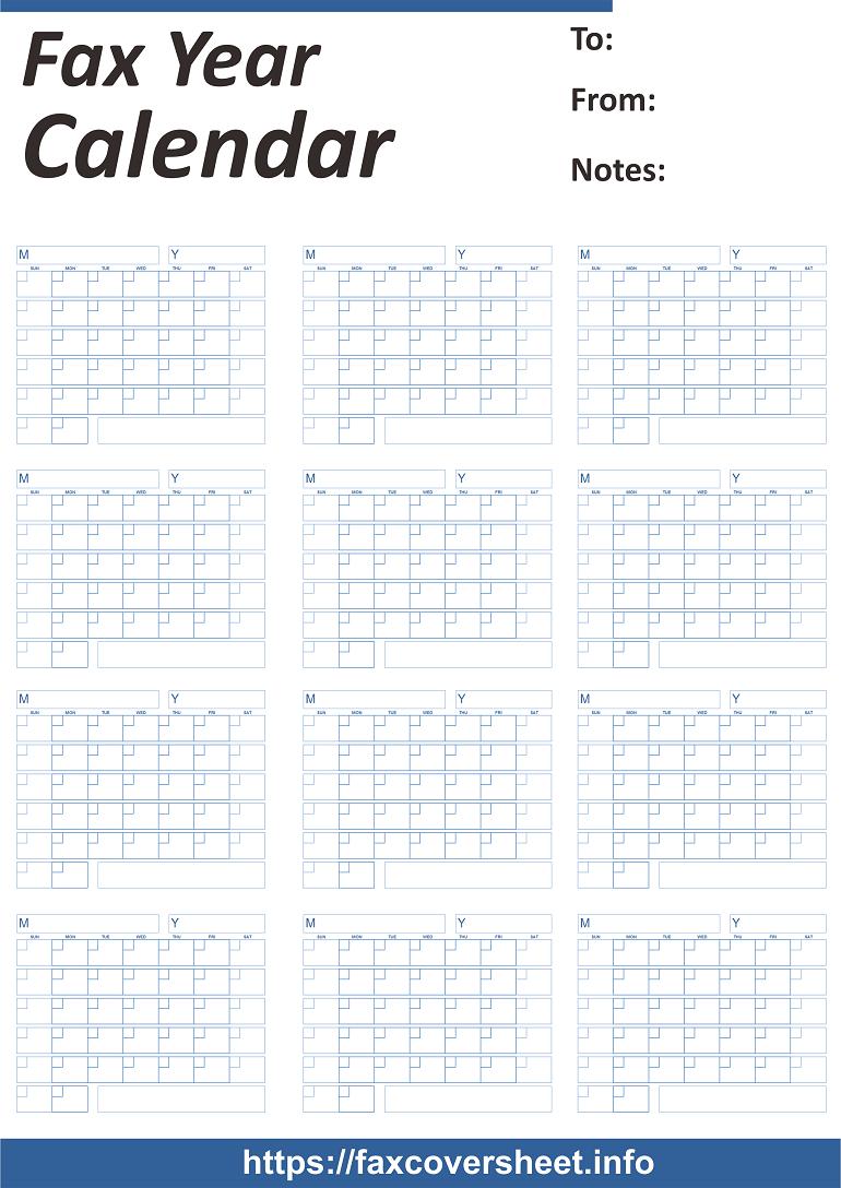 Free Fax Year Calendar Fax Cover Sheet