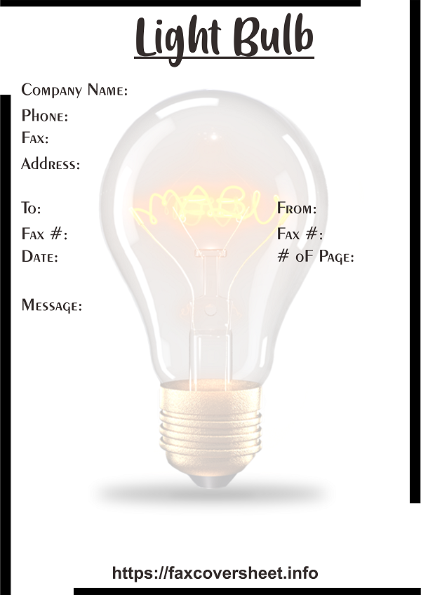 Free Light Bulb Fax Cover Sheet Templates