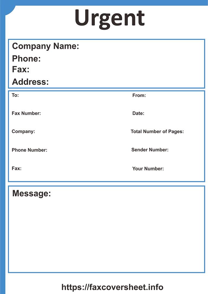 Urgent News Fax Cover Sheet