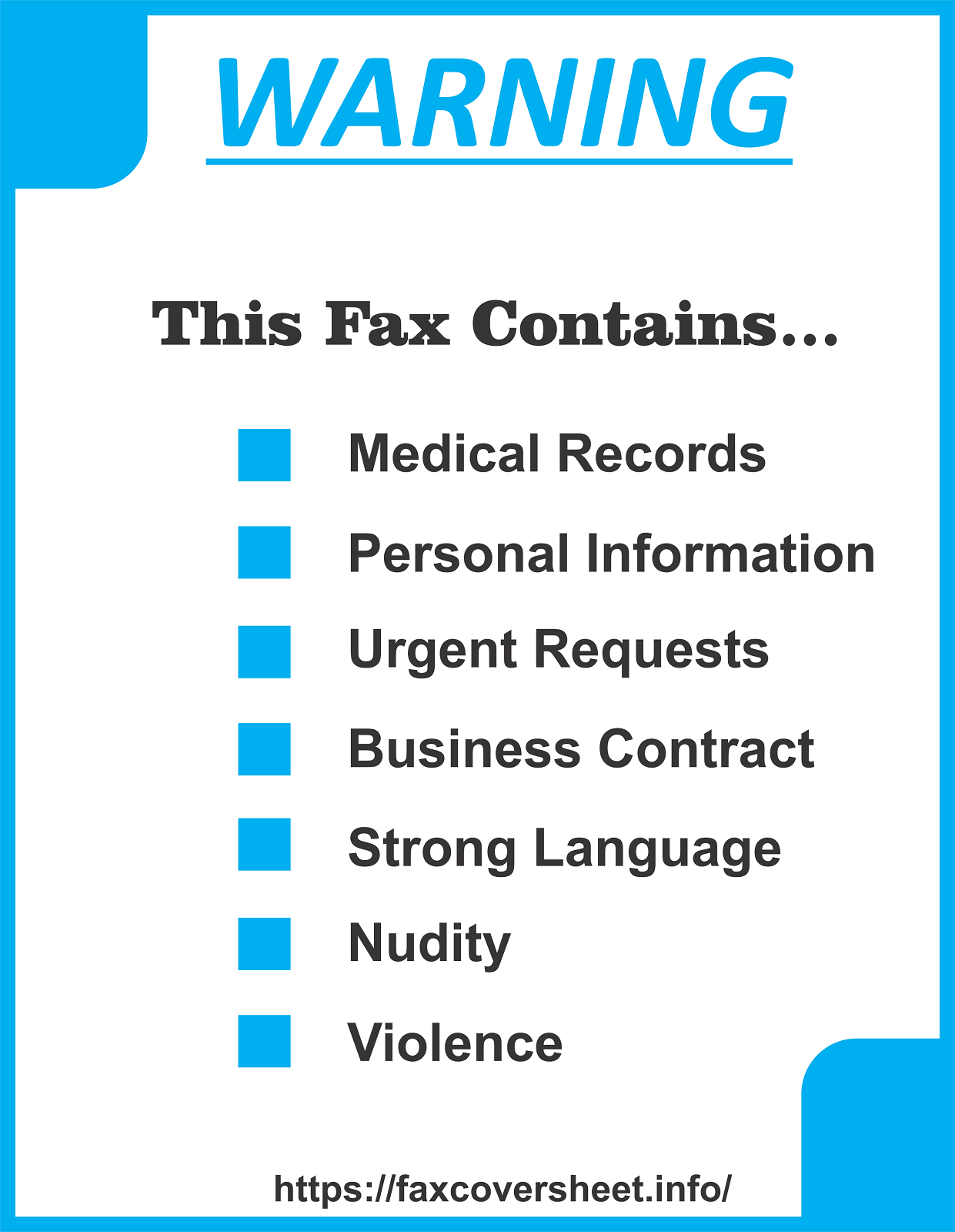 Warning Fax Cover Sheet