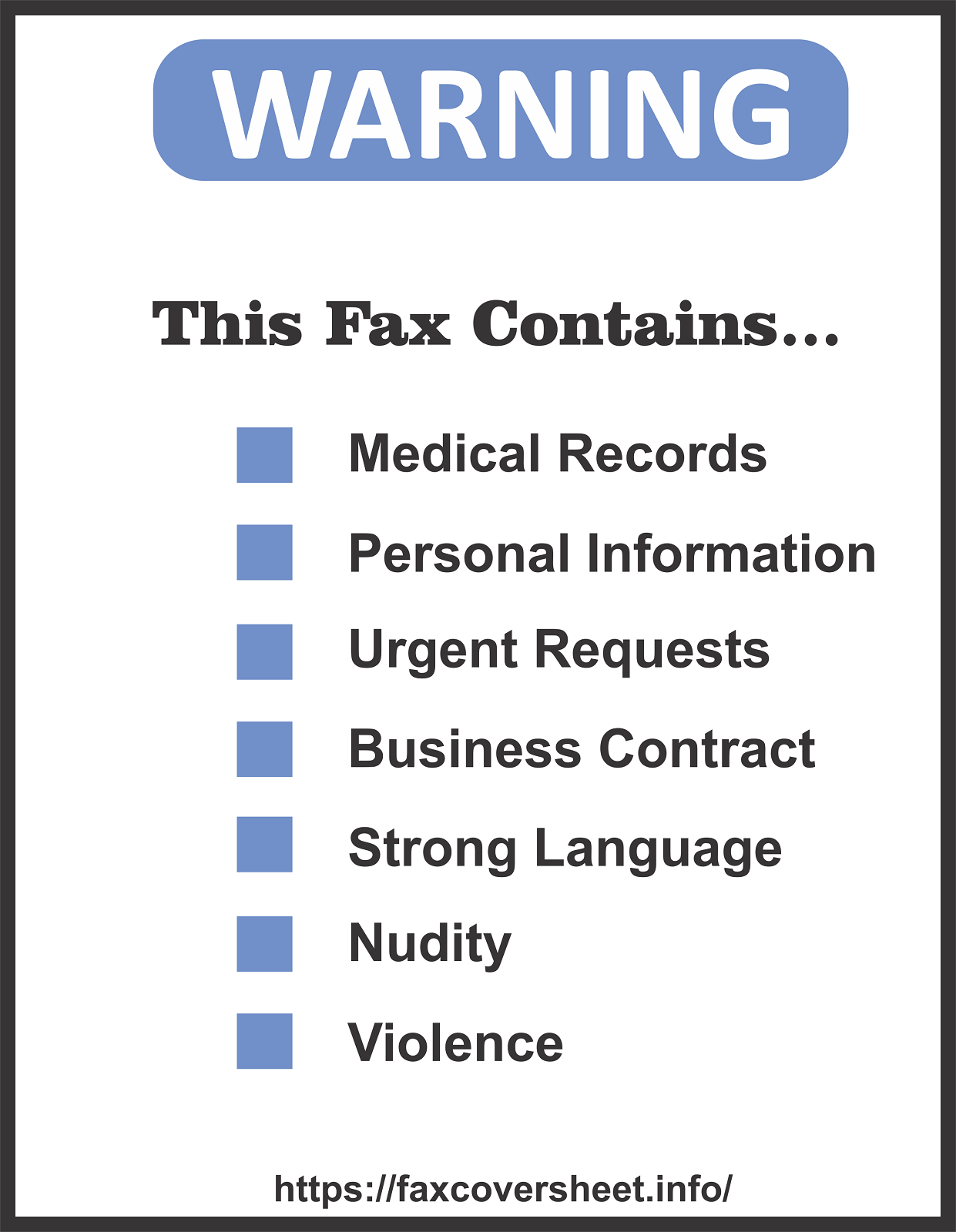 Warning Fax Cover Sheet Templates
