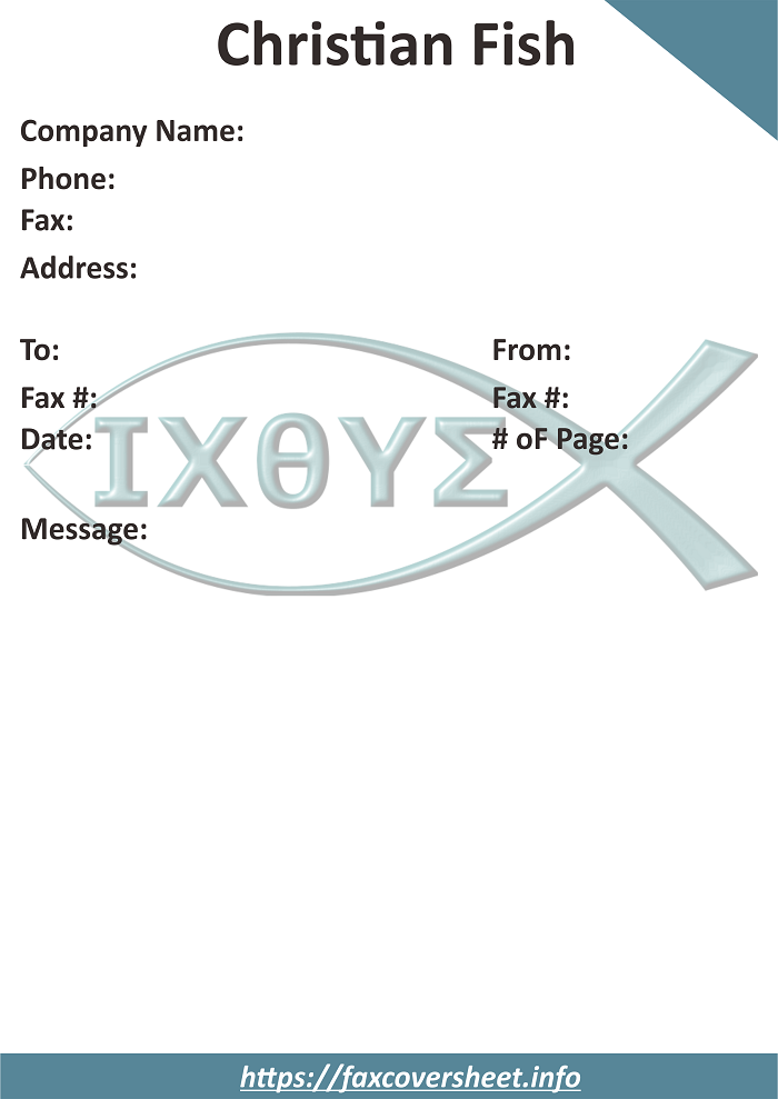Free Christian Fish Fax Cover Sheet