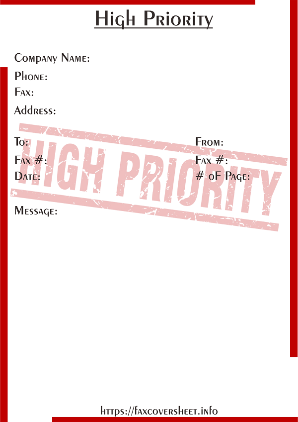 High Priority Fax Cover Sheet