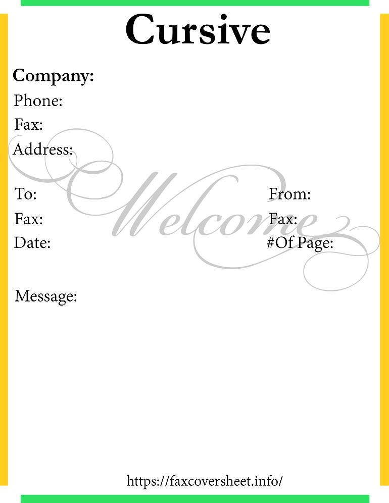 Cursive Fax Cover Sheet