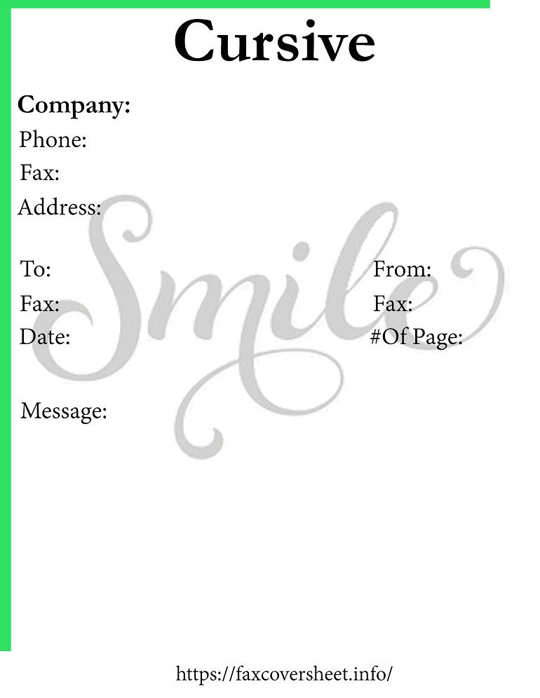 Free Cursive Fax Cover Sheet