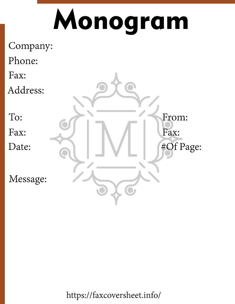 Free Monogram Script Fax Cover Sheet