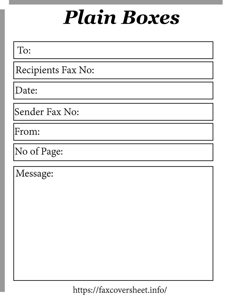 Free Plain Boxes Fax Cover Sheet