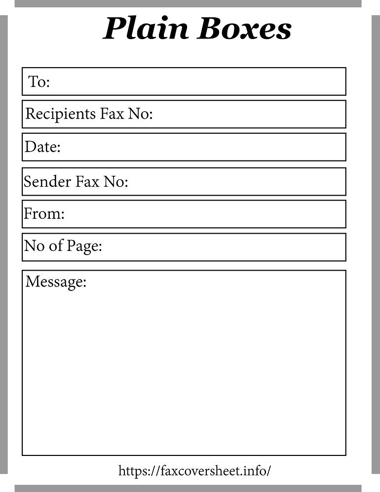 Plain Boxes Fax Cover Sheet
