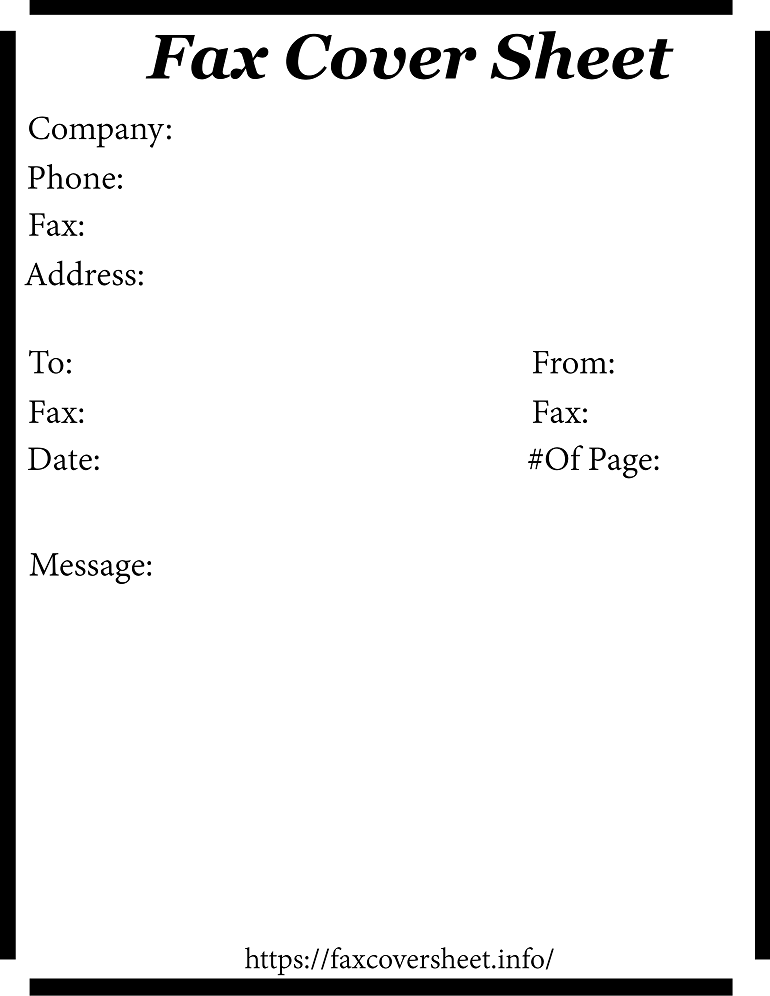 Free Plain Fax Cover Sheet