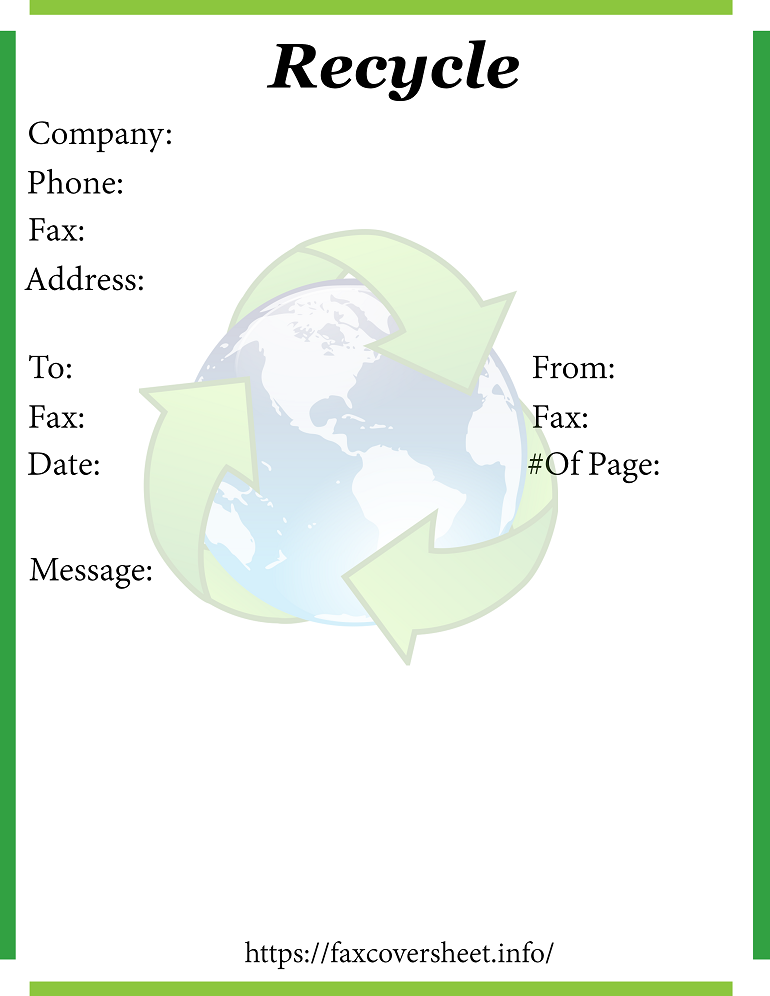 Free Recycle Fax Cover Sheet