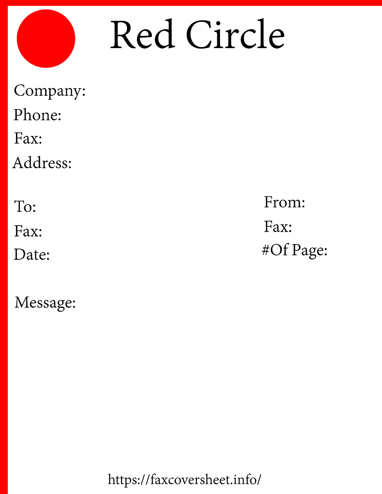 Red Circle Fax Cover Sheet