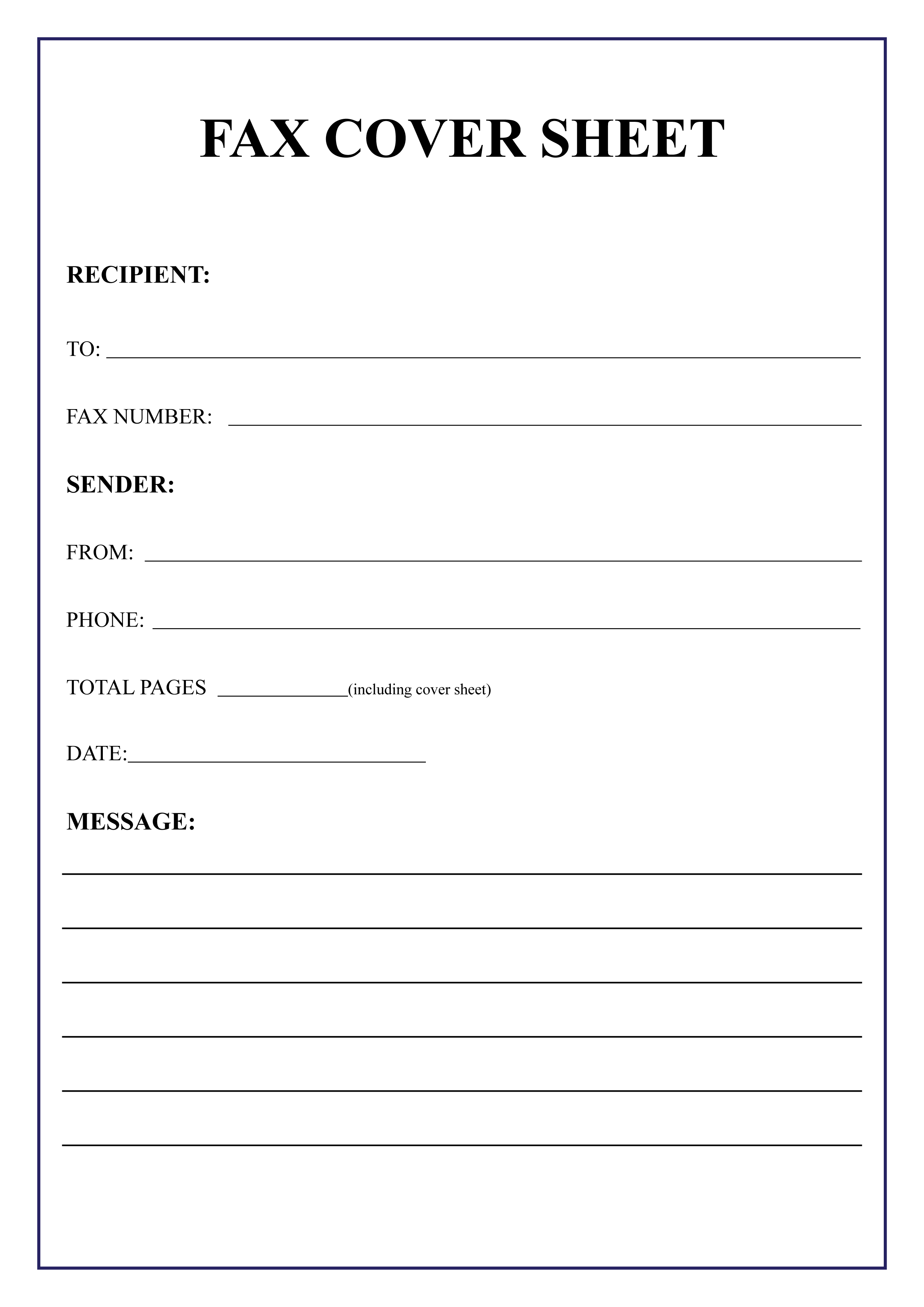 Free Printable Fax Cover Sheet Template   Sample & Examples