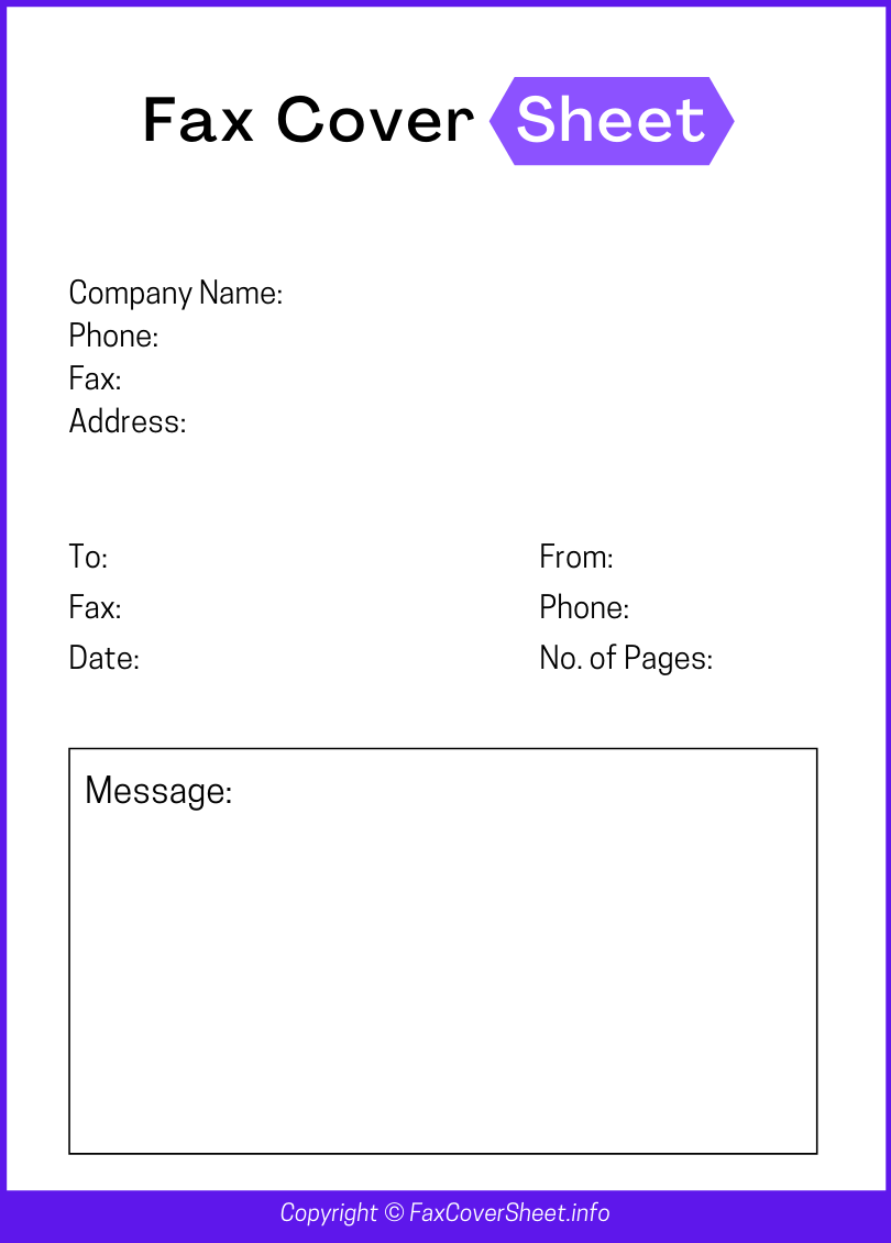 Blank Fax Cover Sheet Template