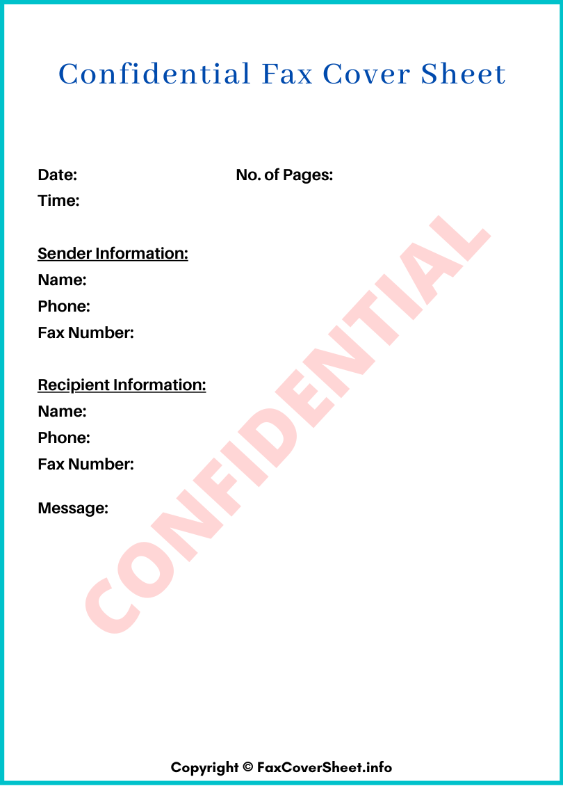 Confidential Fax Cover Sheet Free