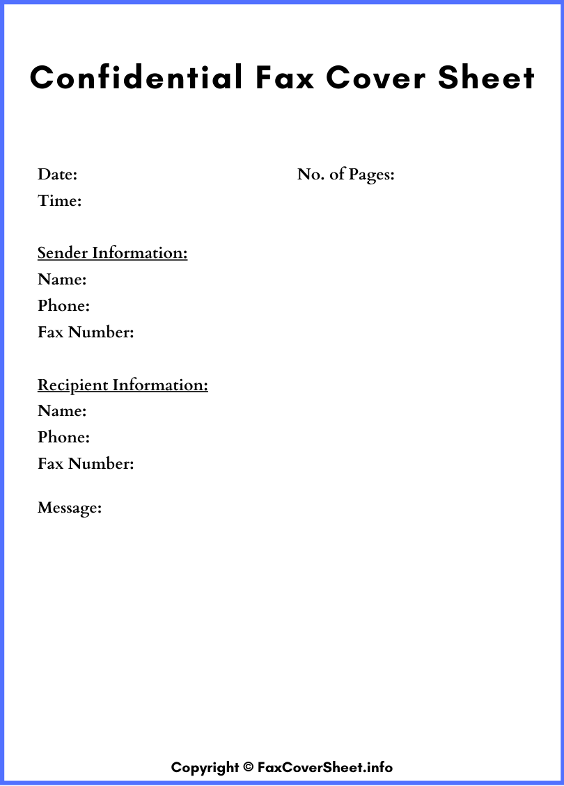 Confidential Printable Fax Cover Sheet
