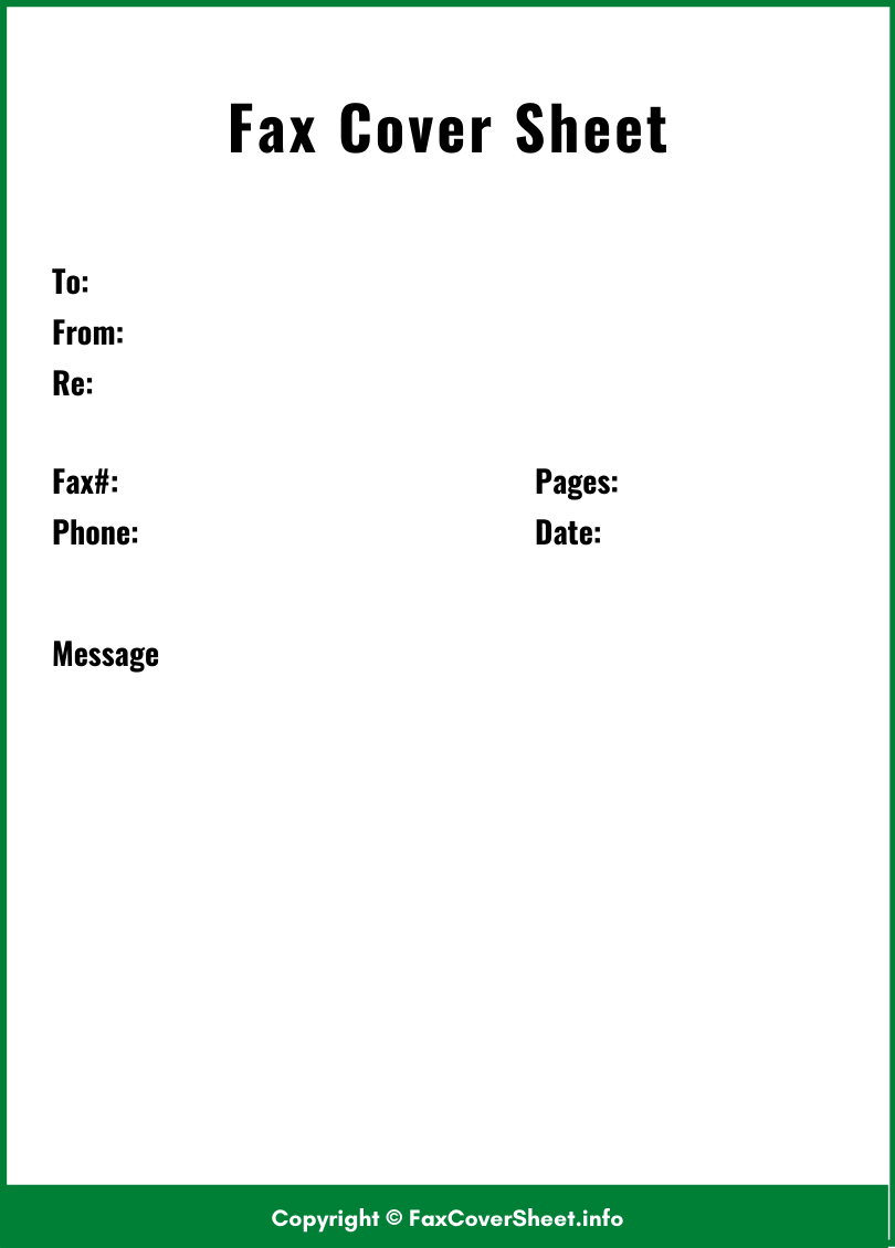 Fax Cover Sheet Free Template