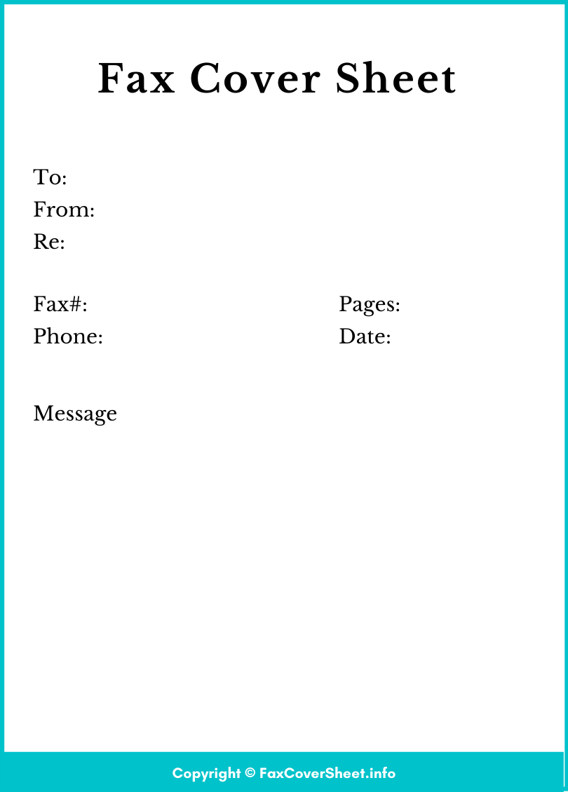 Fax Cover Sheet PDF Template