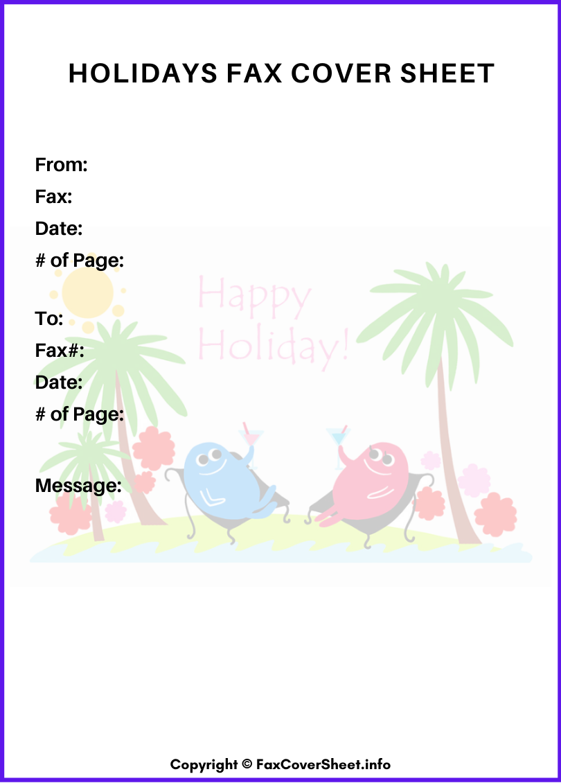 Holidays Free Fax Cover Sheet Template
