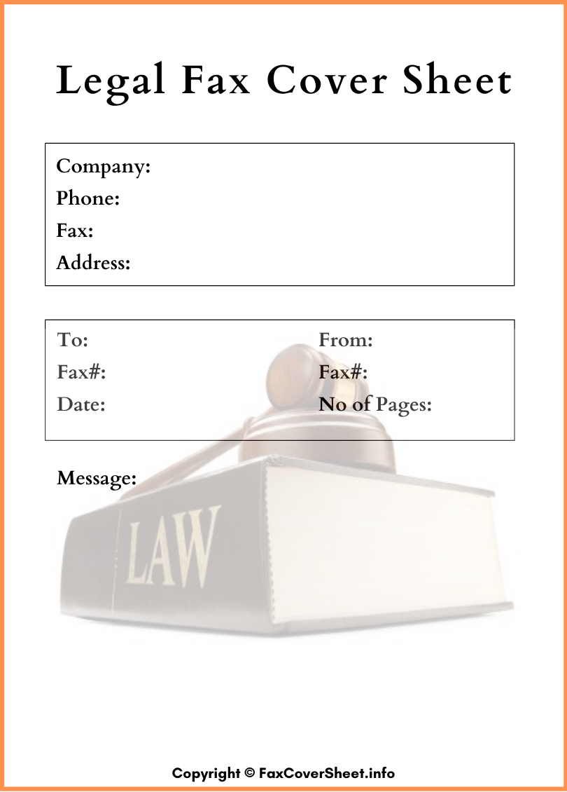 Printable Legal Fax Cover Sheet PDF