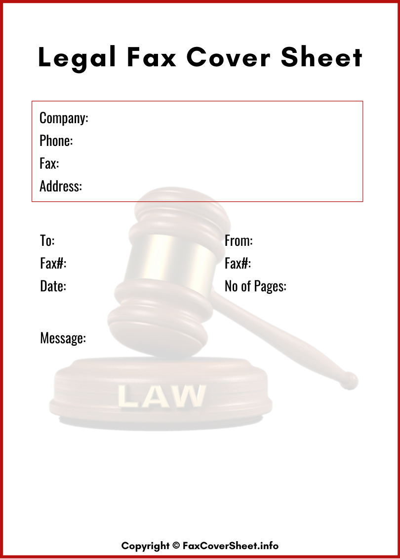 Printable Legal Fax Cover Sheet
