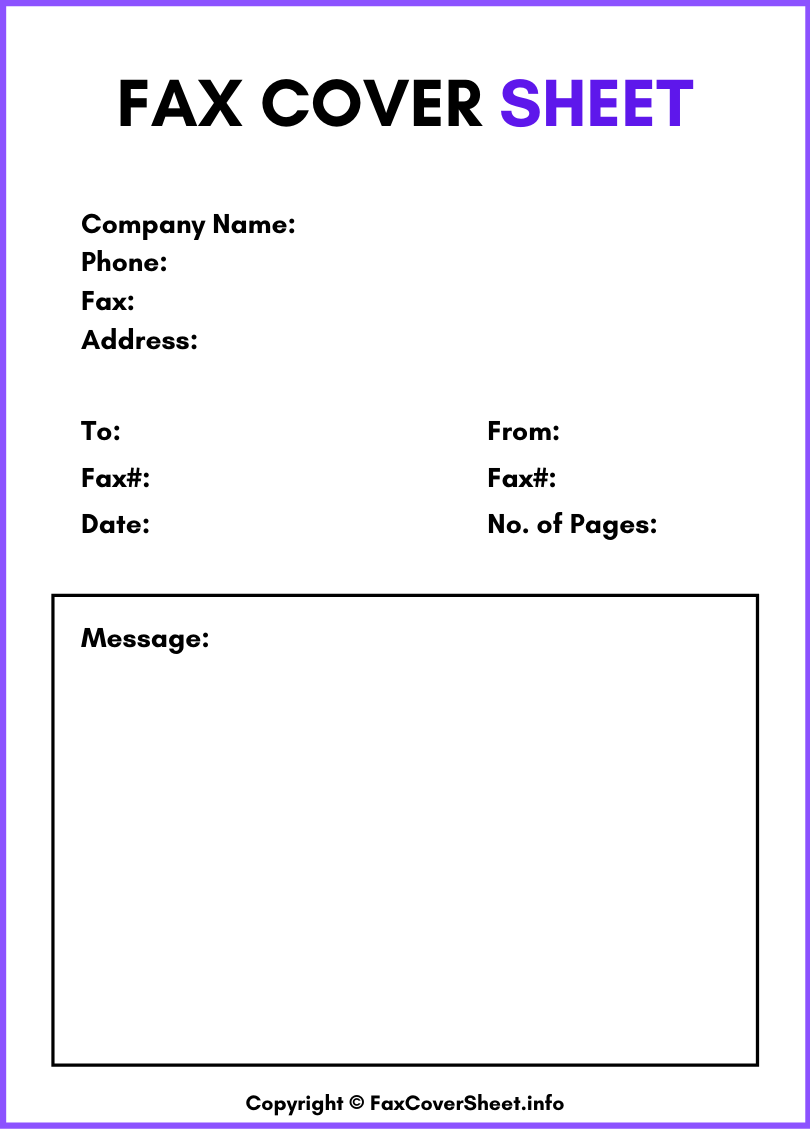 Standard Fax Cover Sheet Free
