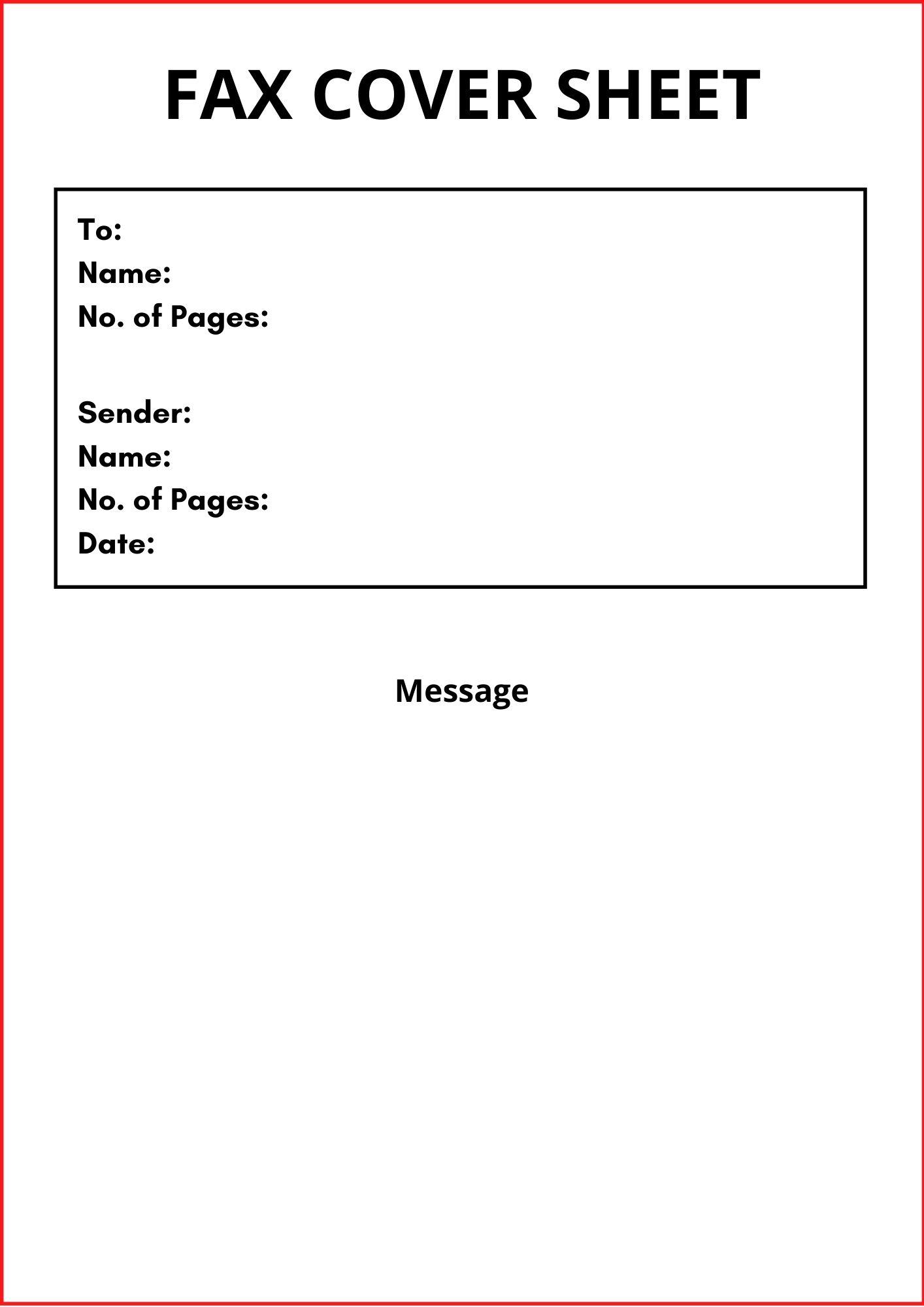 urgent fax cover sheet template