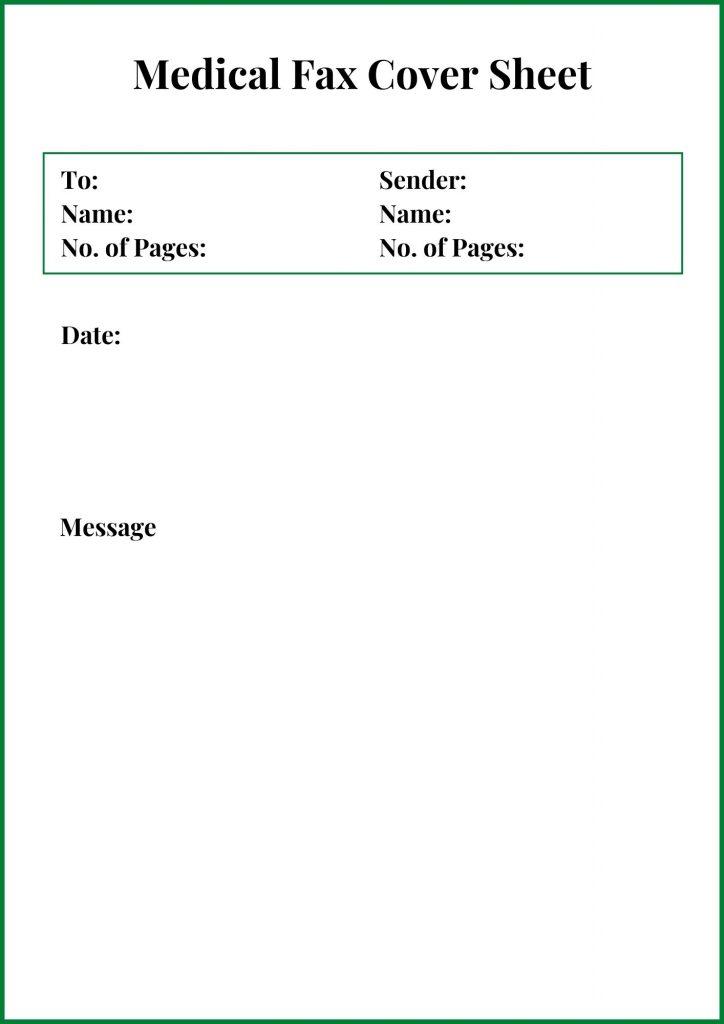 sample medical fax cover sheet